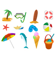 beach holidays icon set vector image