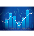 Business graph with arrow showing profits and gain vector image