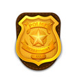 Gold realistic police detective badge with vector image