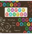 Greetings card for Easter Day with colored eggs vector image