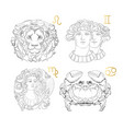 hand drawn zodiac sign leo gemini virgo canc vector image