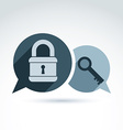 monochrome speech bubbles with a key and a padlock vector image