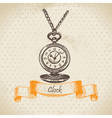 Vintage clock hand drawn vector image vector image