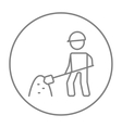 Man with shovel and hill of sand line icon vector image