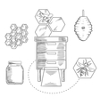 Beekeeping objects with bees and beehives vector image