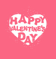 Happy Valentines day logo White heart on pink vector image