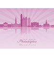 Philadelphia skyline in purple radiant orchid vector image