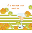 Cocktail glass and orange fruits vector image