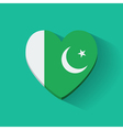 Heart-shaped icon with flag of Pakistan vector image