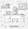 Office woman Business woman Thin line icon for we vector image
