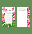 set of vertical banner with pink tulip vector image