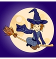 Cute little witch flying vector image