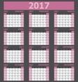 Calendar 2017 week starts on Sunday pink tone vector image vector image