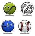 Set of four cartoonl sports balls vector image