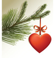 Christmas tree branch with red heart vector image vector image