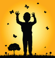 boy in nature silhouette vector image