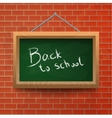 Back to school chalkboard on a brick wall vector image