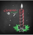 Chalked red Christmas candle vector image
