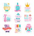 mini boss logo design colorful hand drawn vector image