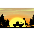 Silhouette nature scene with giraffe and jeep vector image