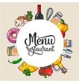 Square vegetable kitchenware cheese and pasta vector image