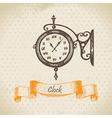 Street clock hand drawn vector image