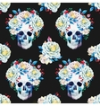 Watercolor skull pattern vector image