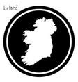 white map of ireland on black circle vector image