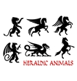 Heraldic animals emblems silhouette elements vector image vector image