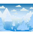 polar landscape with mountains and icebergs vector image