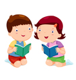 Kids reading books vector image
