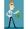 Cartoon office worker with bag of money vector image