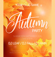 autumn party poster with autumn leaves and hand vector image