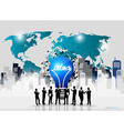 Business people silhouettes and light bulb as vector image