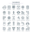 car service line icon set vector image