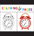 coloring book page red alarm clock sketch vector image