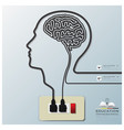 Head And Brain Shape Electricline Education vector image