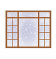 wooden window with frost vector image