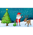a reindeer and santa claus vector image vector image