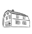 hand drawn house sketch doodles building vector image