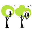 trees with cats and birds vector image vector image