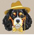 hipster dog breed King Charles Spaniel vector image