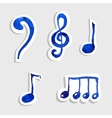 music note icon on sticker set vector image