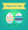 Happy easter with happy egg vector image
