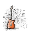 Art sketch of guitar design vector image