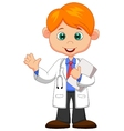 Cute little male doctor cartoon waving hand vector image