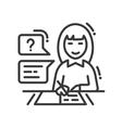 Female studying line design single isolated icon vector image