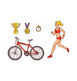 flat sketch sport symbols icon set vector image