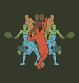 tennis players only men action vector image