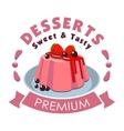 Premium dessert emblem Strawberry pudding icon vector image